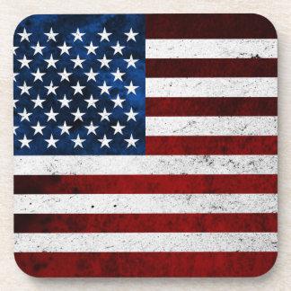 USA FLAG GRUNGE DRINK COASTER