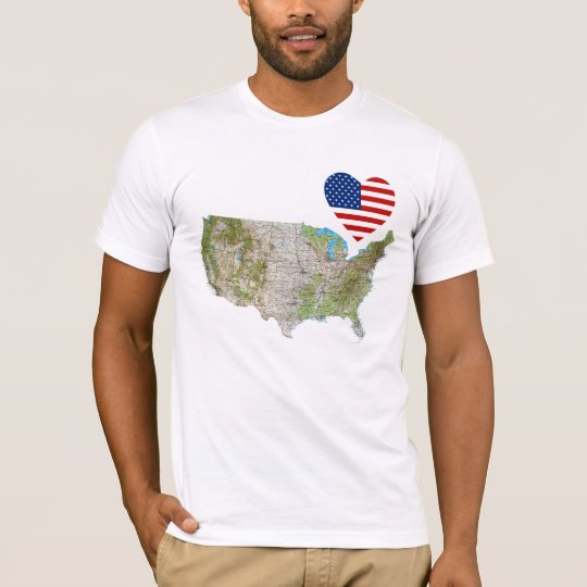 USA Flag Heart and Map T-Shirt