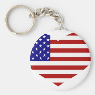 USA Flag Heart Basic Round Button Key Ring