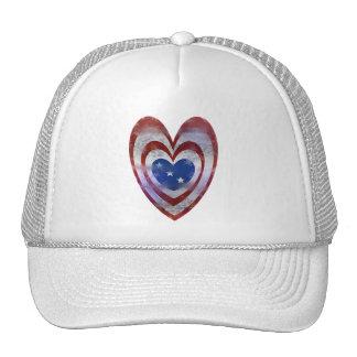 USA Flag Heart Cap