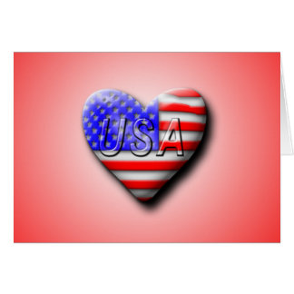 USA Flag Heart Greeting Card