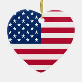 USA Flag Heart Christmas Ornaments