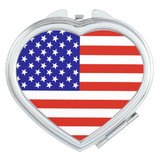 Usa Flag  Heart Compact Mirror