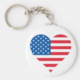 Usa Flag Heart Key Chain