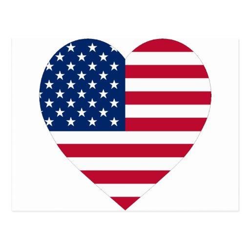 USA Flag Heart Post Card