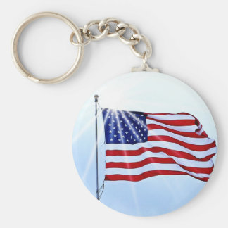 Usa flag in the wind basic round button key ring