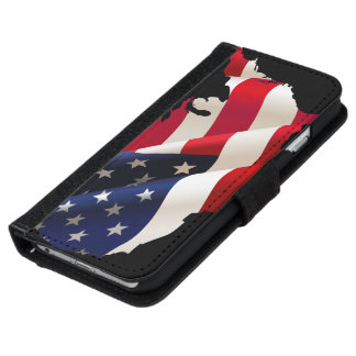 Usa flag in the wind iPhone 6 wallet case