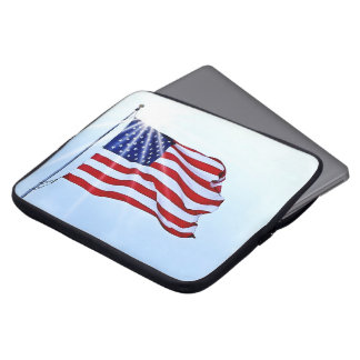 Usa flag in the wind laptop sleeve