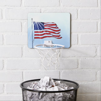Usa flag in the wind mini basketball hoop