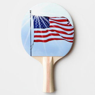 Usa flag in the wind ping pong paddle