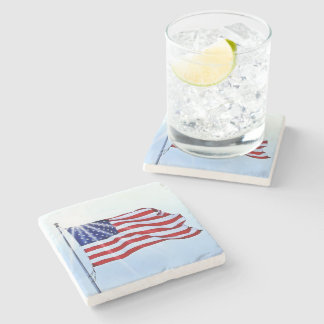 Usa flag in the wind stone beverage coaster
