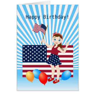 USA Flag July 4th  birthday girl party Card
