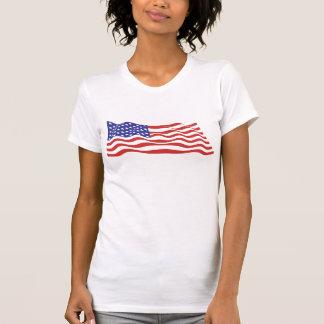 USA Flag Ladies Casual Scoop T-Shirt