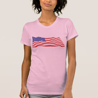 USA Flag Ladies Twofer Sheer (Fitted) T-Shirt
