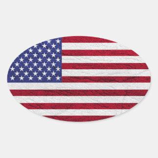 USA FLAG LEATHER OVAL STICKER