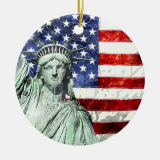 USA FLAG & LIBERTY CHRISTMAS ORNAMENT