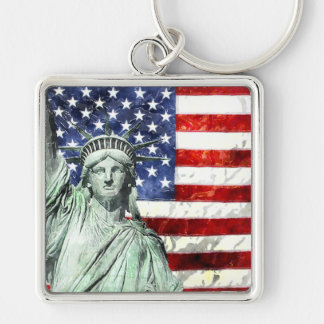 USA FLAG & LIBERTY KEY RING