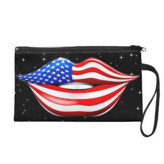 USA Flag Lipstick on Smiling Lips Bagettes Bag Wristlet Purse