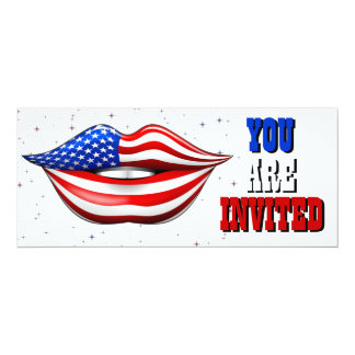 USA Flag Lipstick on Smiling Lips  Invitation Card