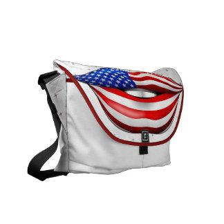 USA Flag Lipstick on Smiling Lips Messenger Bag