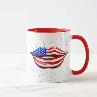 USA Flag Lipstick on Smiling Lips  Mug