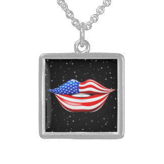 USA Flag Lipstick on Smiling Lips Necklace