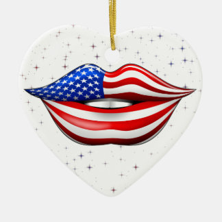 USA Flag Lipstick on Smiling Lips Ornament