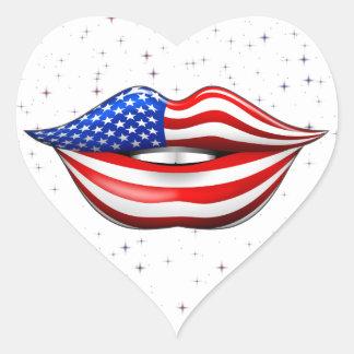 USA Flag Lipstick on Smiling Lips Sticker