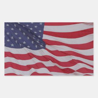 usa flag - long may it wave rectangular sticker