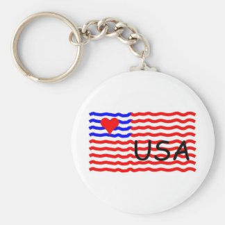 USA FLAG -LOVE BASIC ROUND BUTTON KEY RING