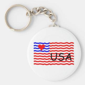 USA FLAG -LOVE KEY CHAINS