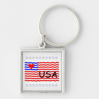 USA FLAG -LOVE Silver-Colored SQUARE KEY RING