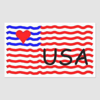 USA FLAG -LOVE RECTANGLE STICKER