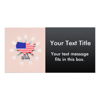 Usa Flag Map 2.0 Personalized Photo Card