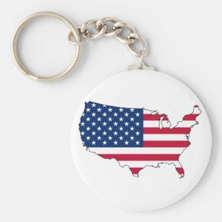 usa flag map basic round button key ring