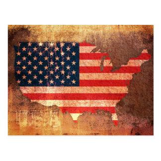 USA Flag Map Postcard