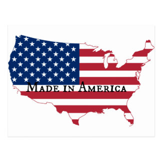 USA Flag Map Silhouette Postcard
