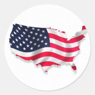 usa-flag-map round sticker