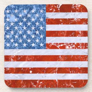 USA FLAG MARBLE BEVERAGE COASTERS