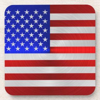 USA FLAG METAL 2 DRINK COASTER