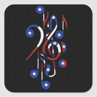 USA Flag Musical Notes Stickers