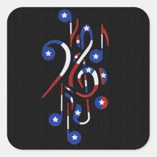 USA Flag Musical Notes Square Sticker