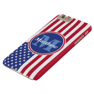 USA Flag Name and Monogram Barely There iPhone 6 Plus Case