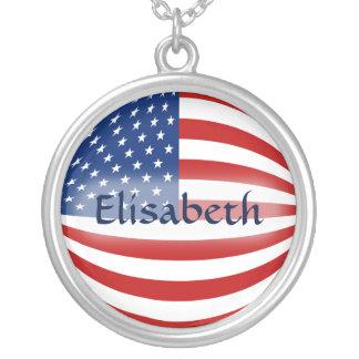 USA Flag + Name Necklace