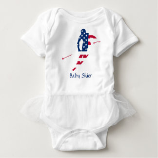 USA Flag of America Skiing American Baby Bodysuit