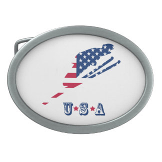 USA Flag of America Skiing American Belt Buckle