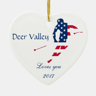 USA Flag of America Skiing American Christmas Ornament
