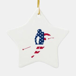USA Flag of America Skiing American Christmas Ornament