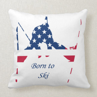 USA Flag of America Skiing American Cushion