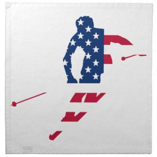 USA Flag of America Skiing American Napkin